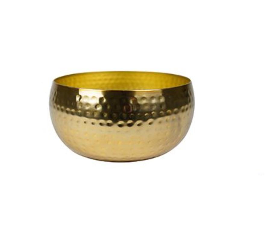 Bacia de Metal Artesanal Ouro Indiano Kody 34x15cm