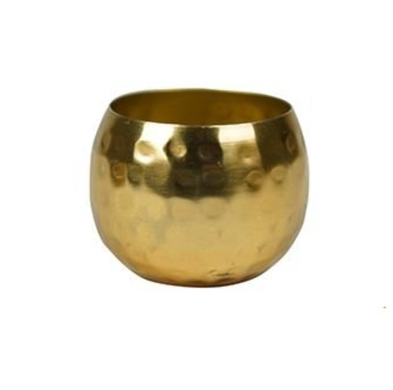 Cachepot de Metal Artesanal Ouro Indiano Kody 7x5cm