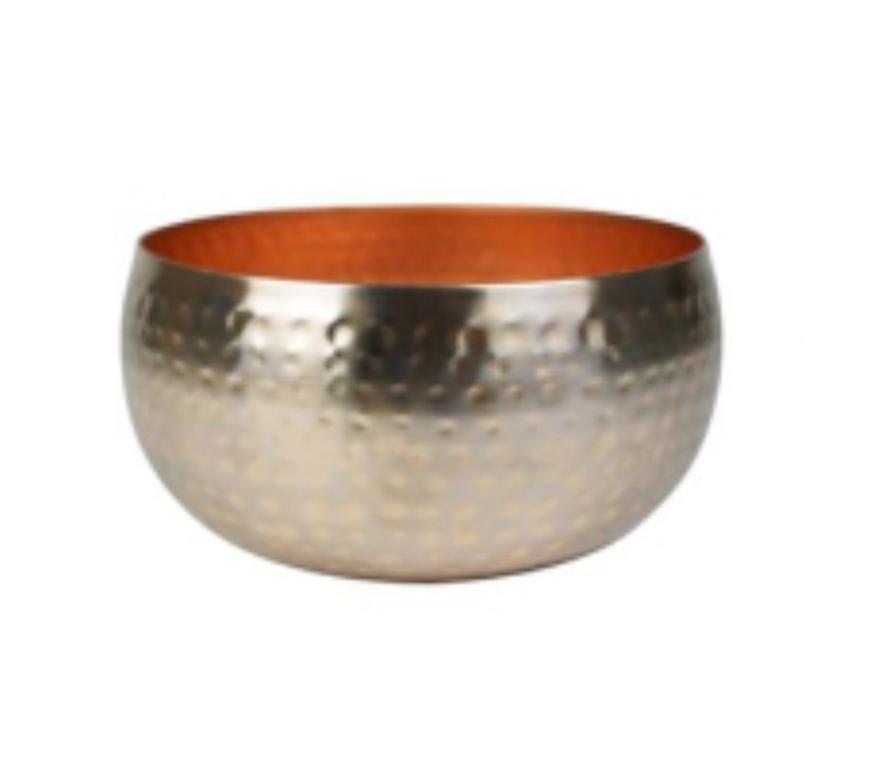 Bacia de Metal Artesanal Ouro Rose Indiano Kody 24x11cm