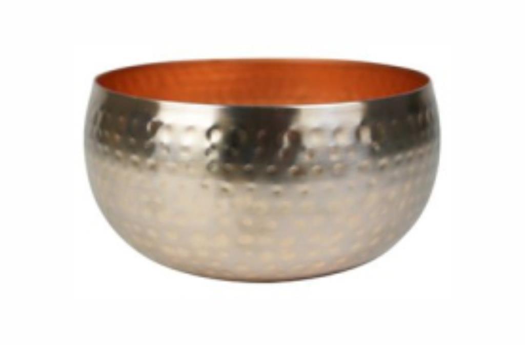 Bacia de Metal Artesanal Ouro Rose Indiano Kody 34x15cm