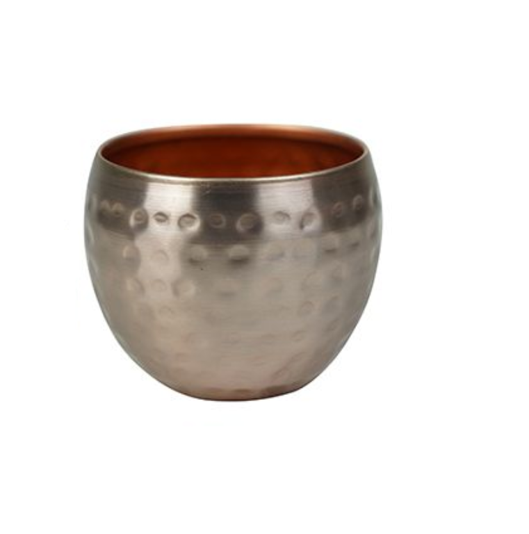 Cachepot de Metal Artesanal Ouro Rose Indiano Kody 9x7cm