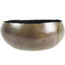 Bacia de Metal Artesanal Verde Mesclado Indiana Ellen 24x11cm