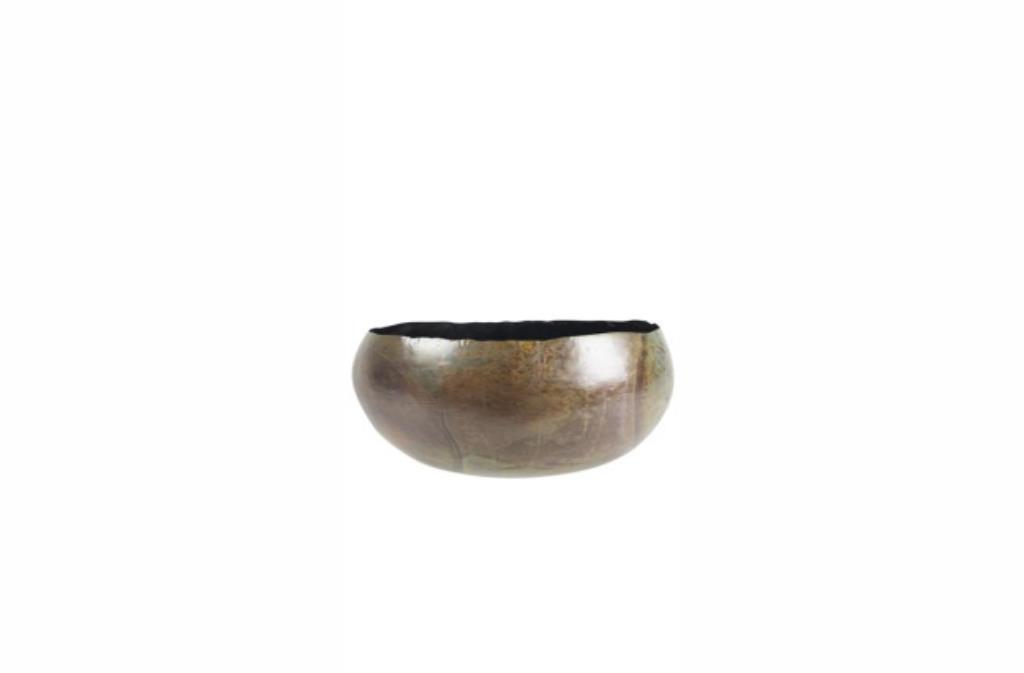 Bacia de Metal Artesanal Verde Mesclado Indiana Ellen 28x13cm