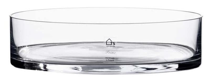 Bacia de vidro artesanal polonês(Cilindro) -  35cm x 08cm Cor: Transparente
