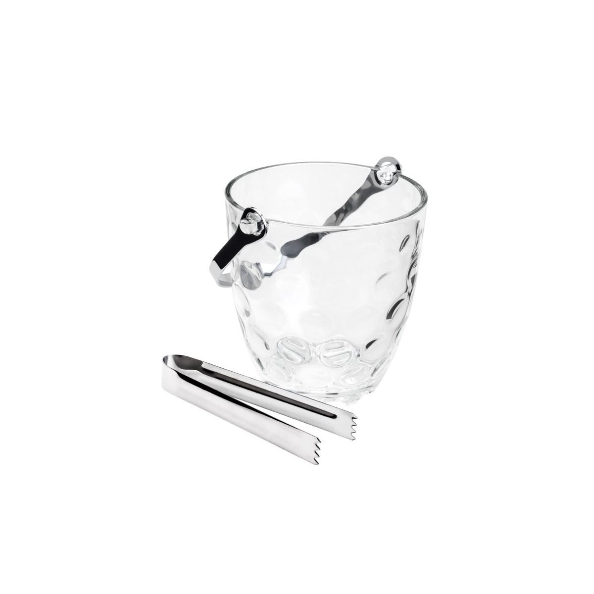 Balde para Gelo de Vidro Bolhas c/Alça e Pegador 13X12cm