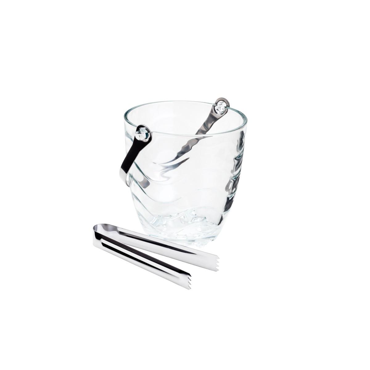 Balde para Gelo de Vidro Ondas c/Alça e Pegador 13X12cm
