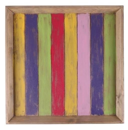 Bandeja de Madeira Artesanal Colorido Roots Joy 60x60cm