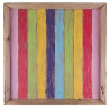 Bandeja de Madeira Artesanal Colorida Roots Joy 70x70cm
