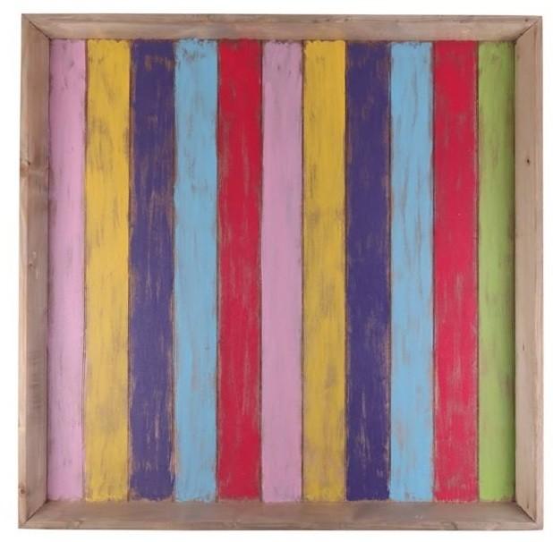Bandeja de Madeira Artesanal Colorida Roots Joy 80x80cm