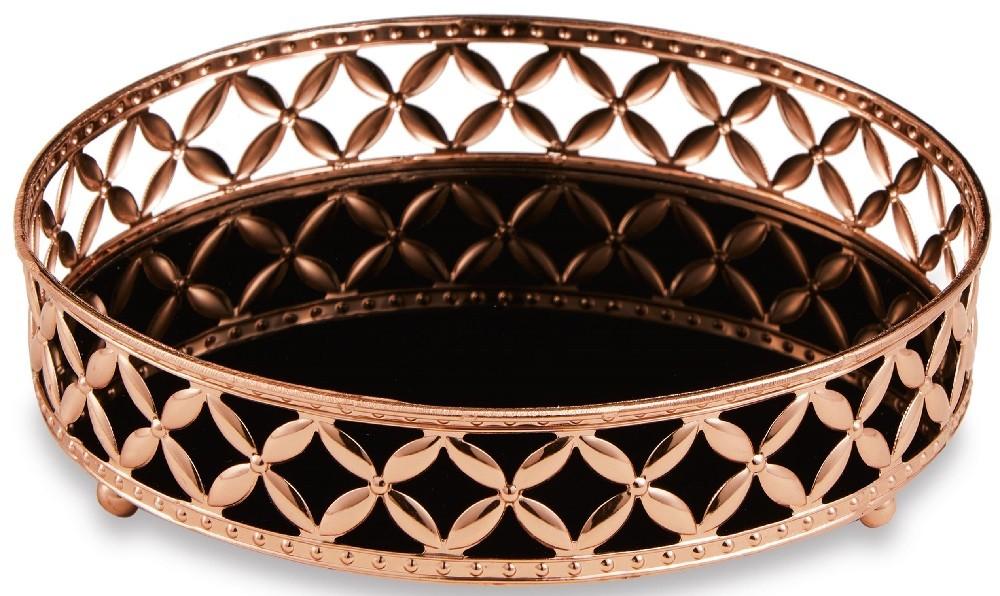 Bandeja de Metal com Espelho - 25cm x 5cm Cor: Cobre