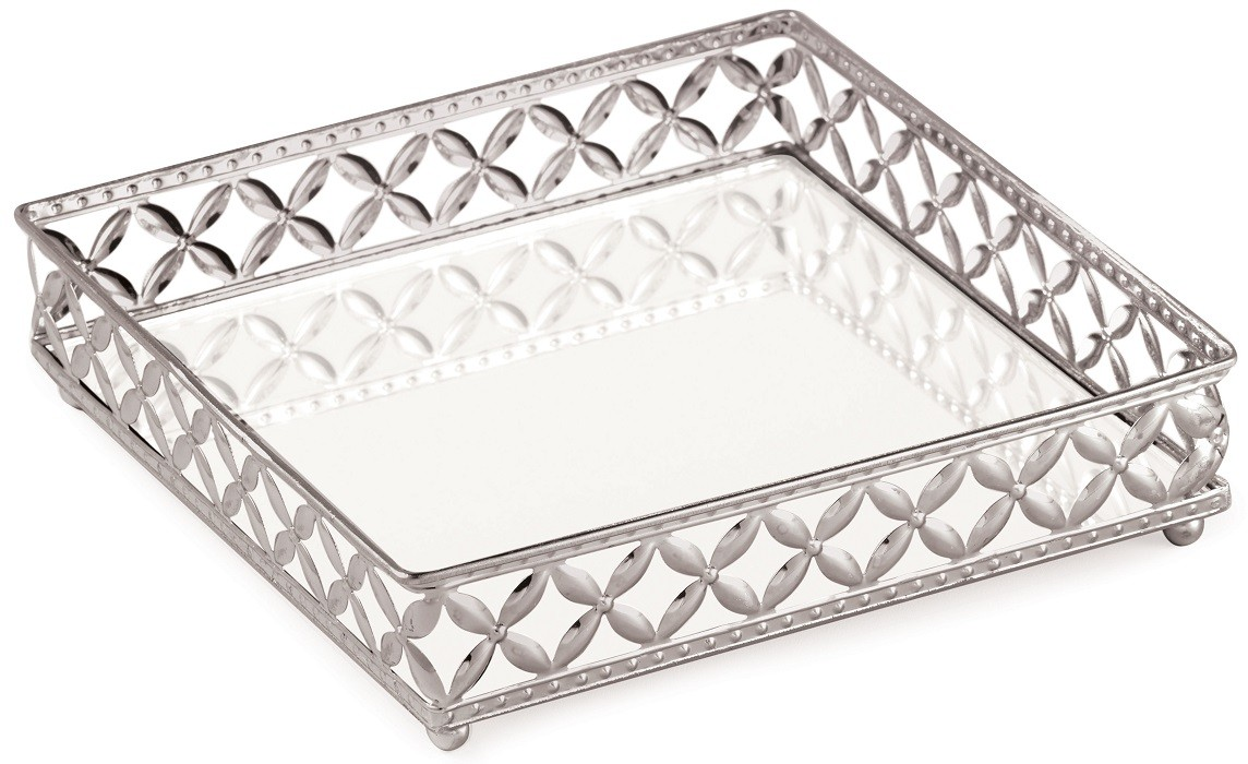 Bandeja Quadrada de Metal Prata com Espelho 17x17cm