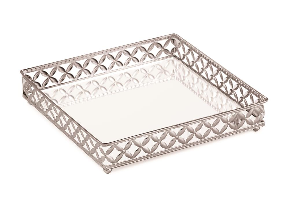 Bandeja Quadrada Em Metal - 25cm x 25cm Cor: Prata
