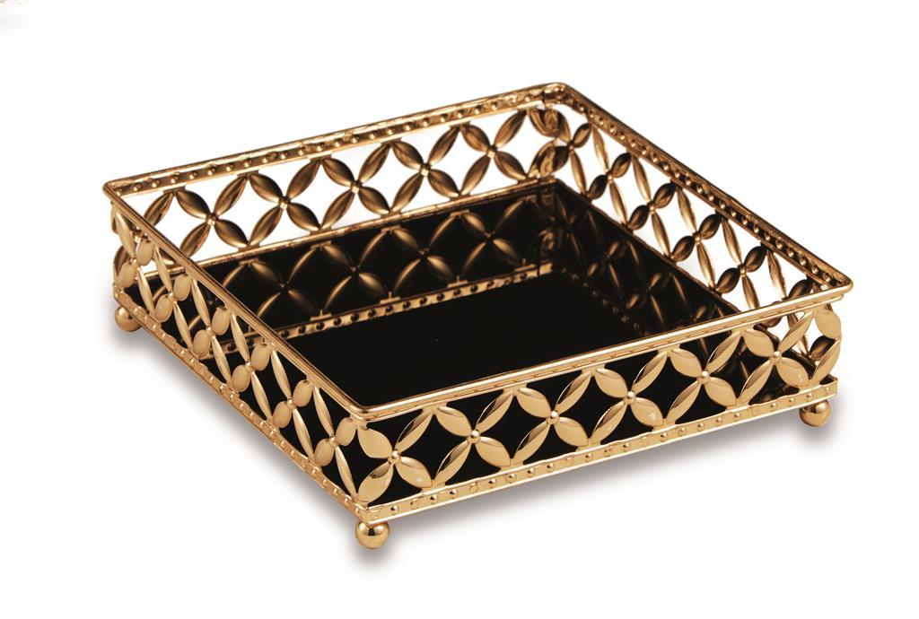 Bandeja Quadrada em Metal Dourado com Espelho Preto 5x17cm