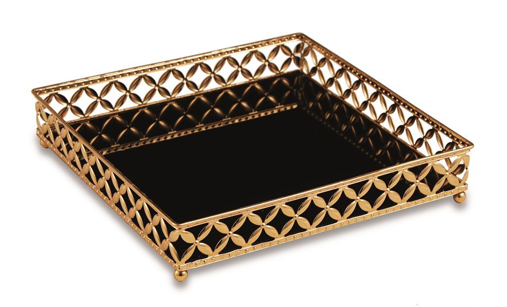 Bandeja Quadrada em Metal Dourado com Espelho Preto 5x25cm