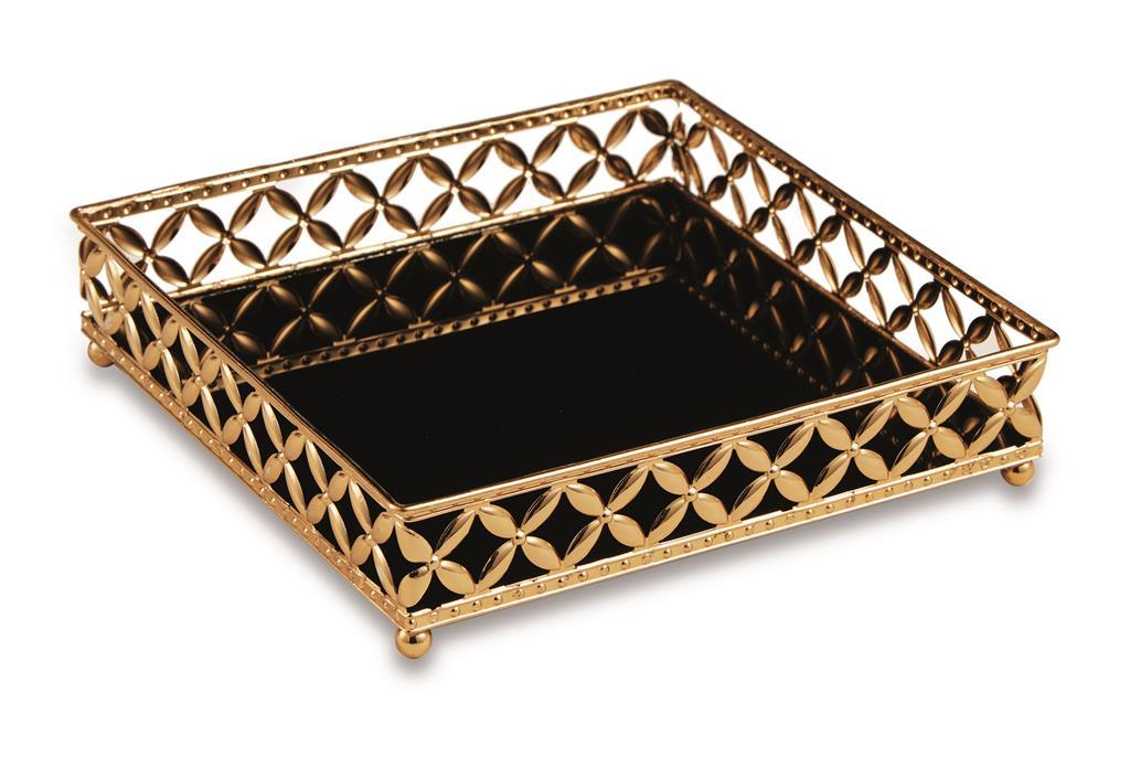 Bandeja Quadrada em Metal Dourado com Espelho Preto 5x21cm