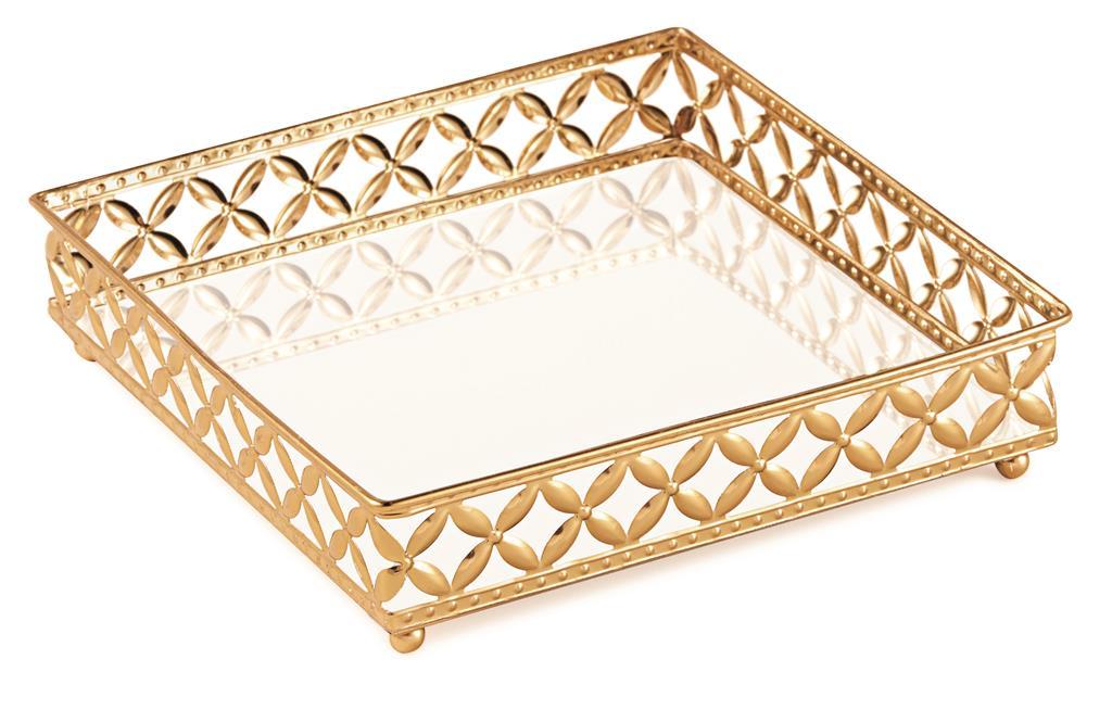 Bandeja Quadrada Em Metal com Espelho - 21cm x 21cm Cor: Dourado