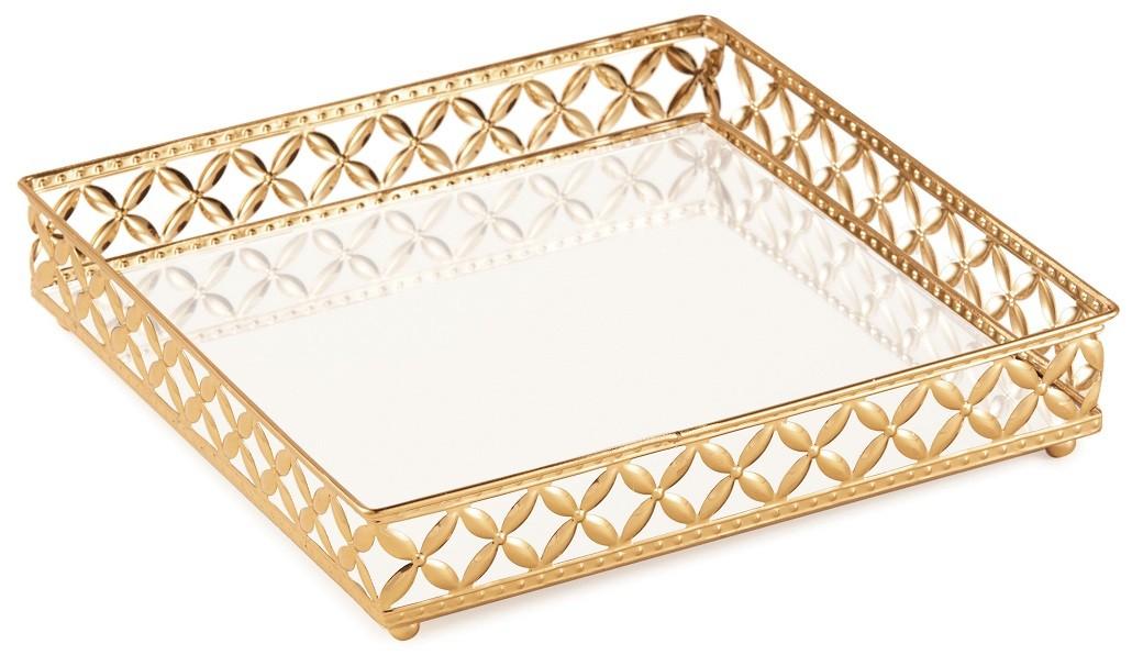 Bandeja Quadrada Em Metal com Espelho - 25cm x 25cm Cor: Dourado