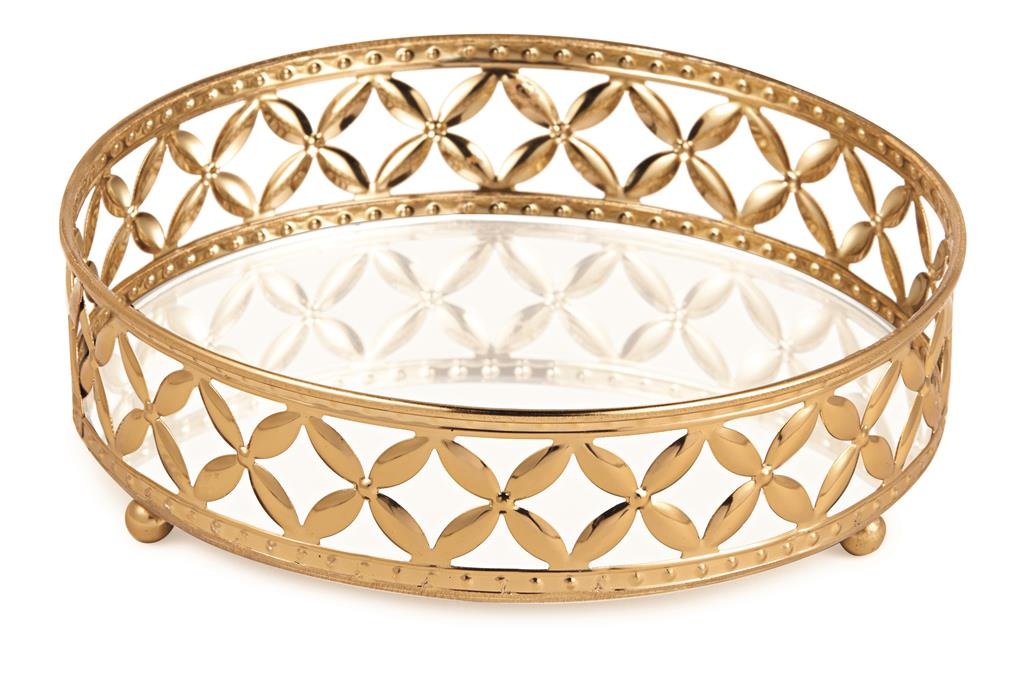 Bandeja Redonda em Metal Dourado com Espelho 5x18cm