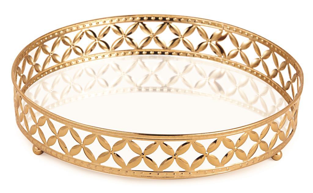 Bandeja Redonda em Metal Dourado com Espelho 5x25cm