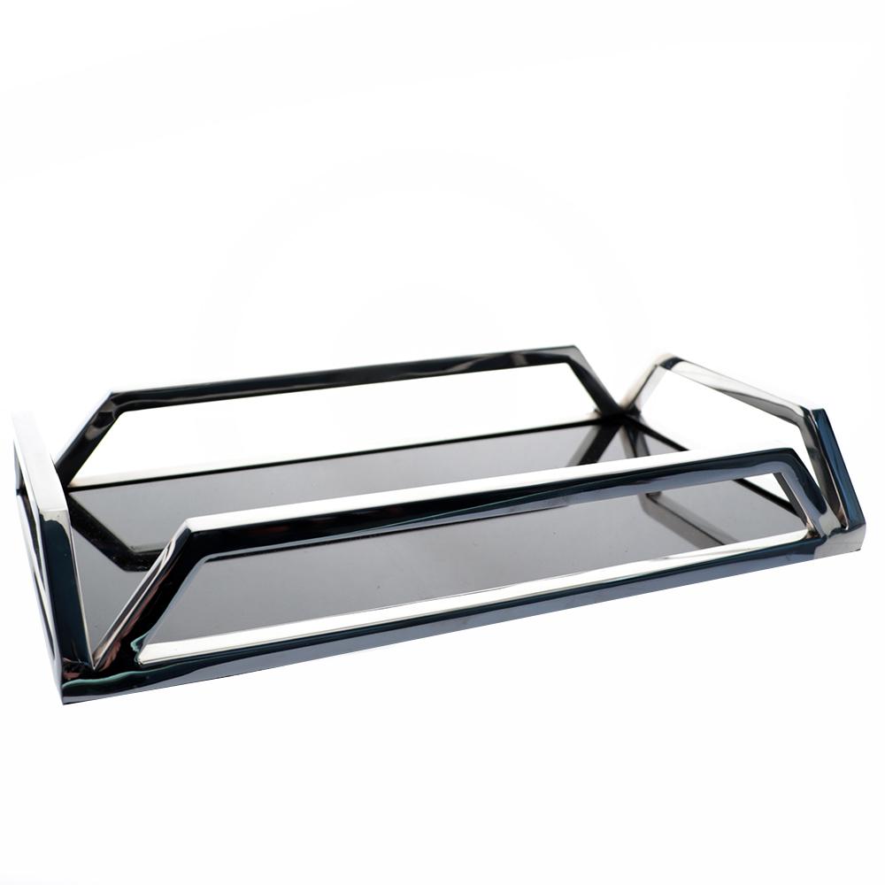 Bandeja Retangular c/Espelho em Aço Inox 30x5cm