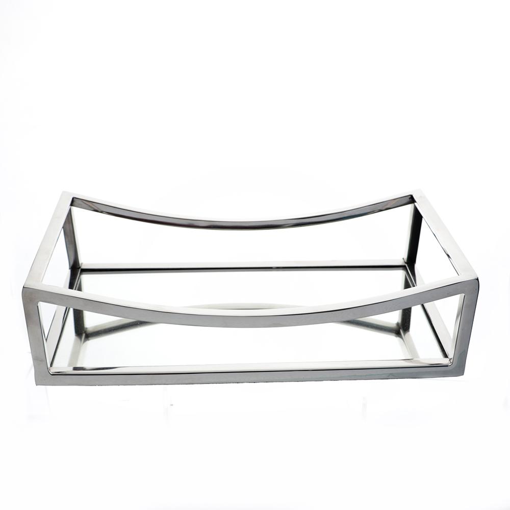 Bandeja Retangular c/Espelho em Metal 30x8cm