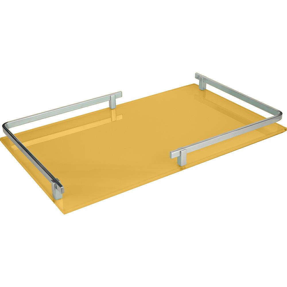 Bandeja Retangular c/Espelho em Metal Amarela 25x4cm
