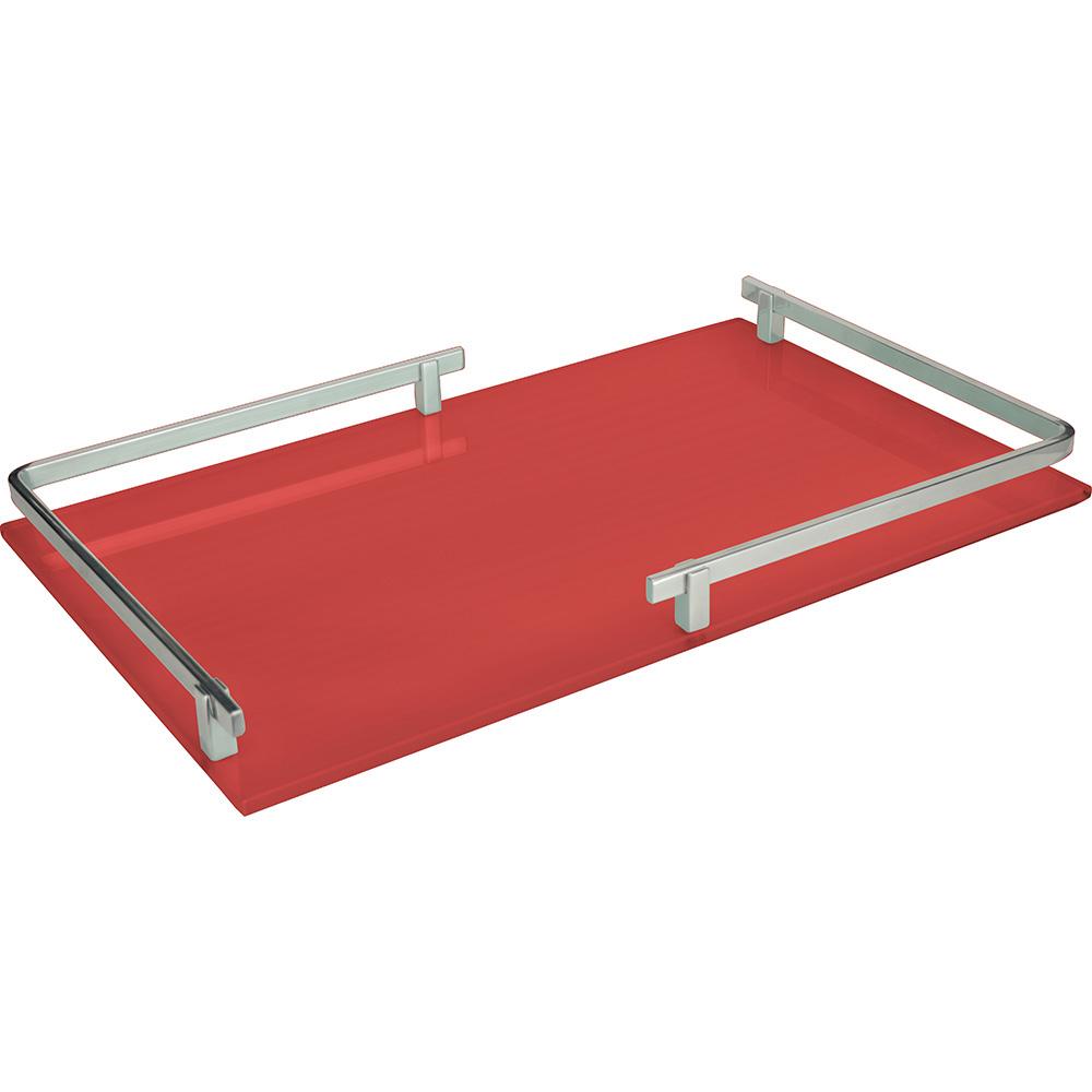 Bandeja Retangular c/Espelho em Metal Vermelho 25x4cm