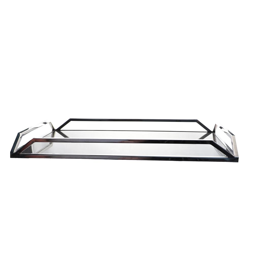 Bandeja Retangular c/Vidro em Metal Preto 36x6cm