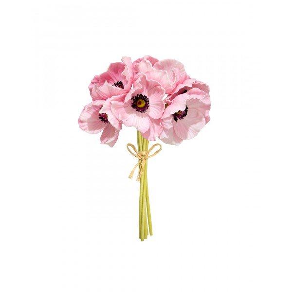 Buquê de Papoulas Rosa Permanente 27cm