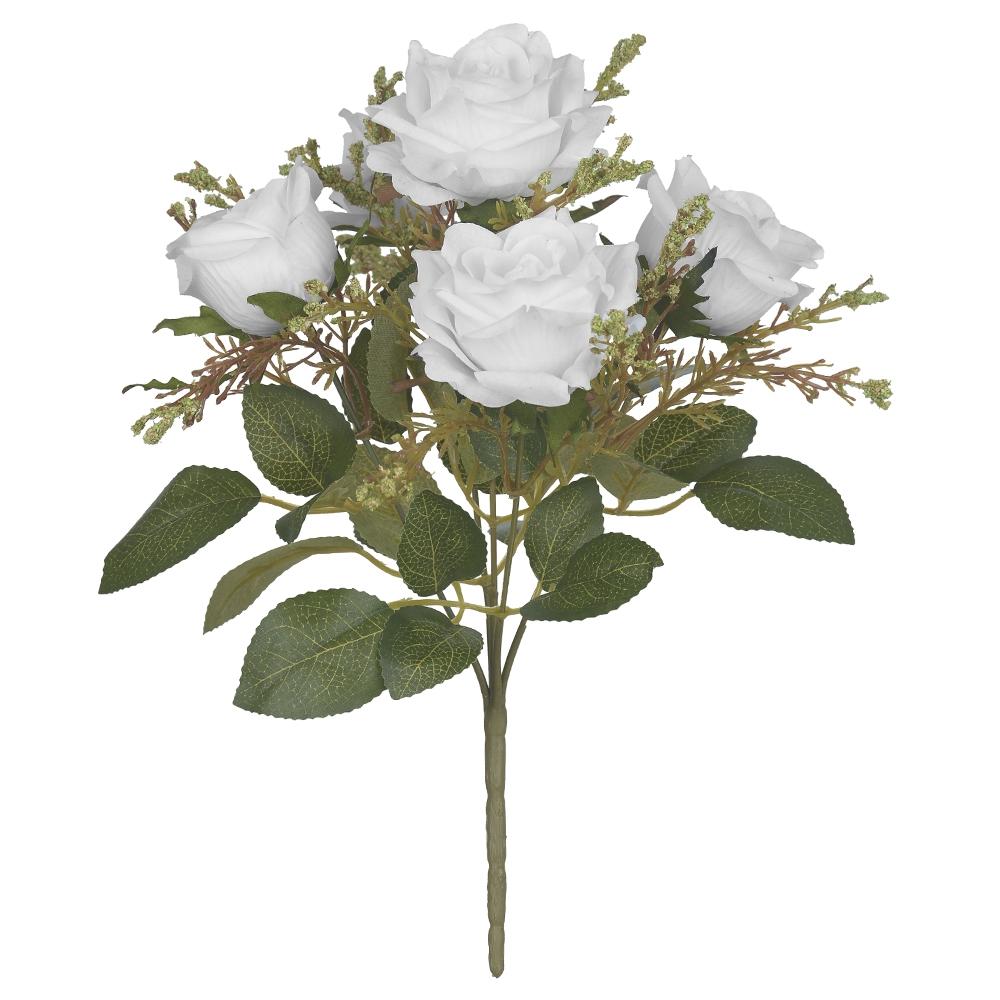 Buque de Rosas Brancas Permanentes 32cm