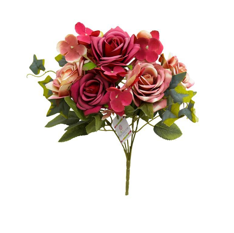 Buque de Rosas c/Hortência Rosa Permanente