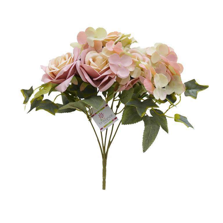 Buquê de Rosas c/Hortênsias Rosa Permanente 27cm