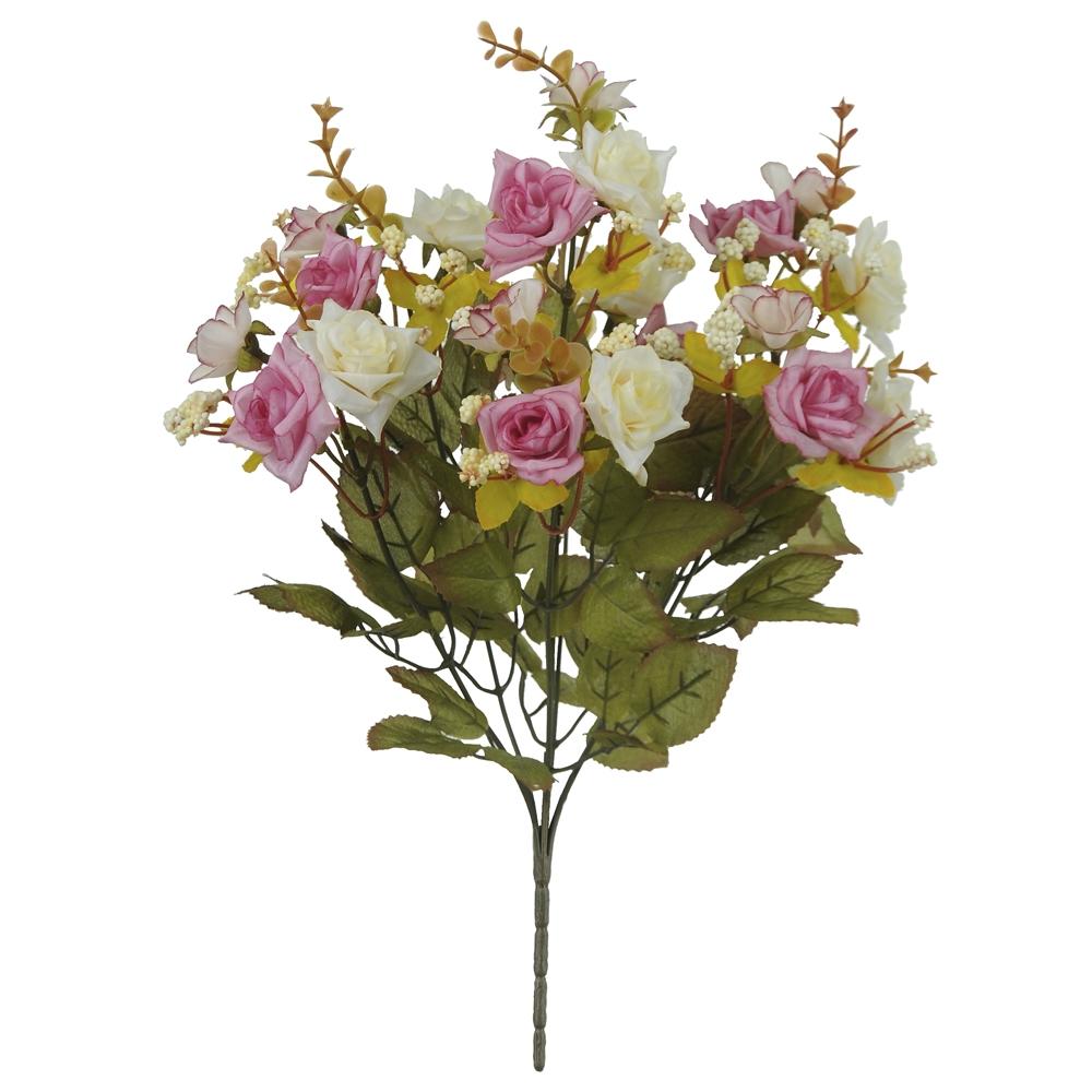 Buquê de Rosas Creme c/Rosa Permanente 39cm