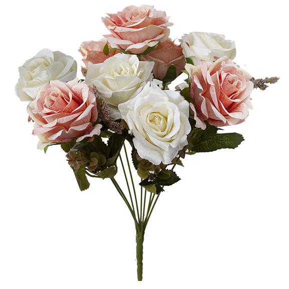 Buquê de Rosas Branco Envelhecido c/Rosa Permanente 40cm
