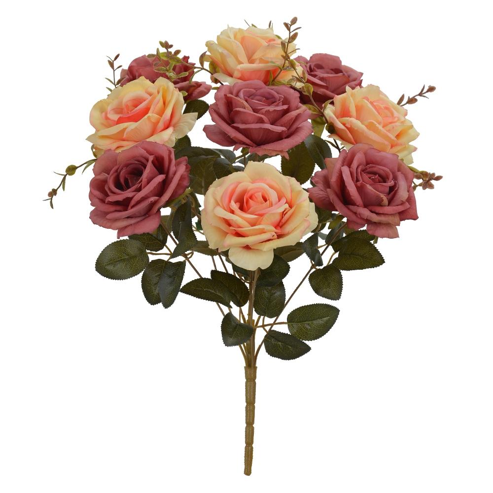 Buquê de Rosas Laranja c/Rosa Antigo Permanente 47cm