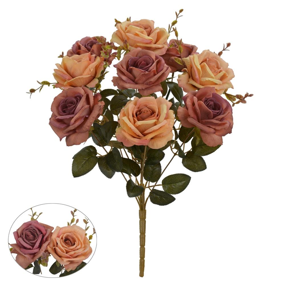 Buquê de Rosas Laranja c/Vermelha Permanente 47cm