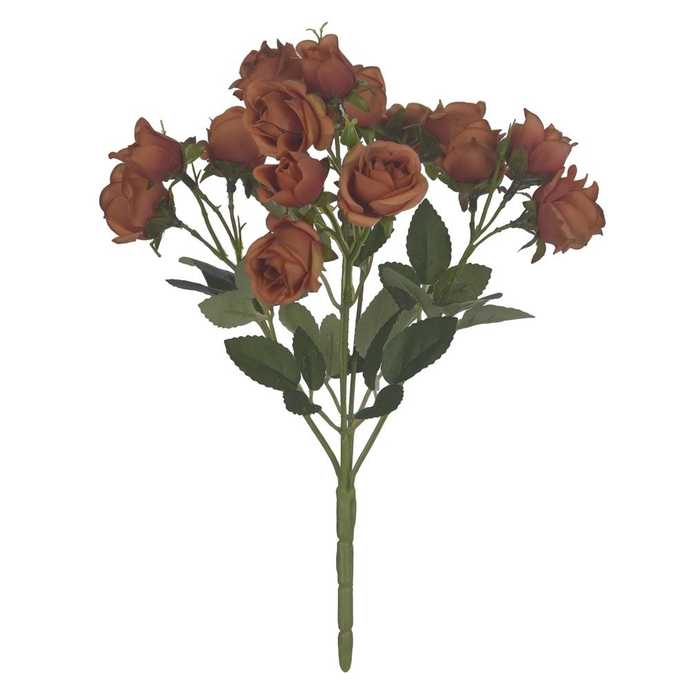 Buquê de Mini Rosas Laranja Antigo Permanente 31cm