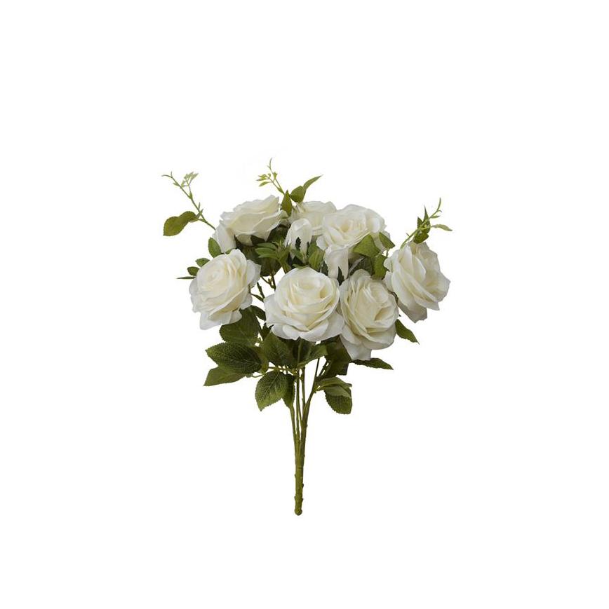 Buquê de Rosas Branco Envelhecido Permanente 50cm