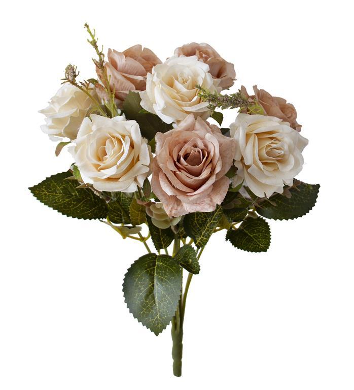 Buquê de Rosas Envelhecidas Marrom Permanente 40cm