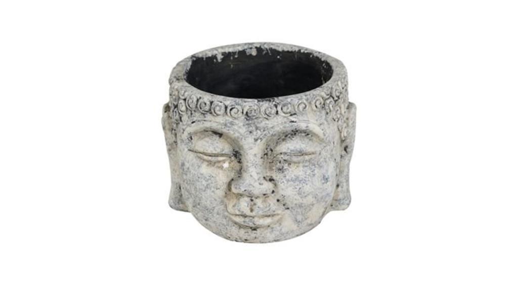 Cachepot Buddha de Cimento Artesanal Cinza 15x11cm