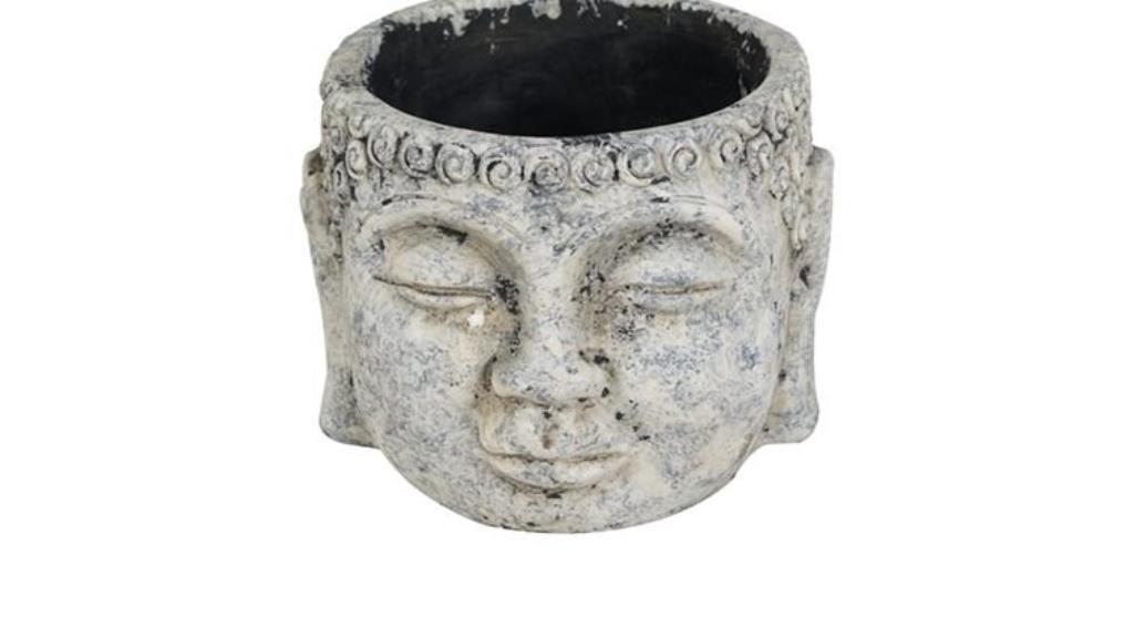 Cachepot Buddha de Cimento Artesanal Cinza 17x13cm