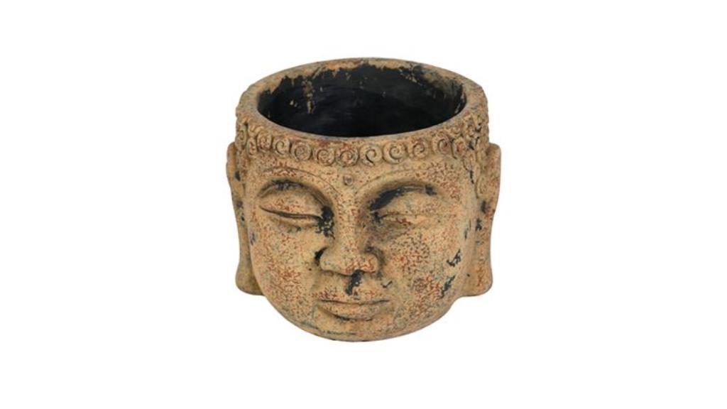 Cachepot Buddha de Cimento Artesanal Marrom Camel 15x11cm