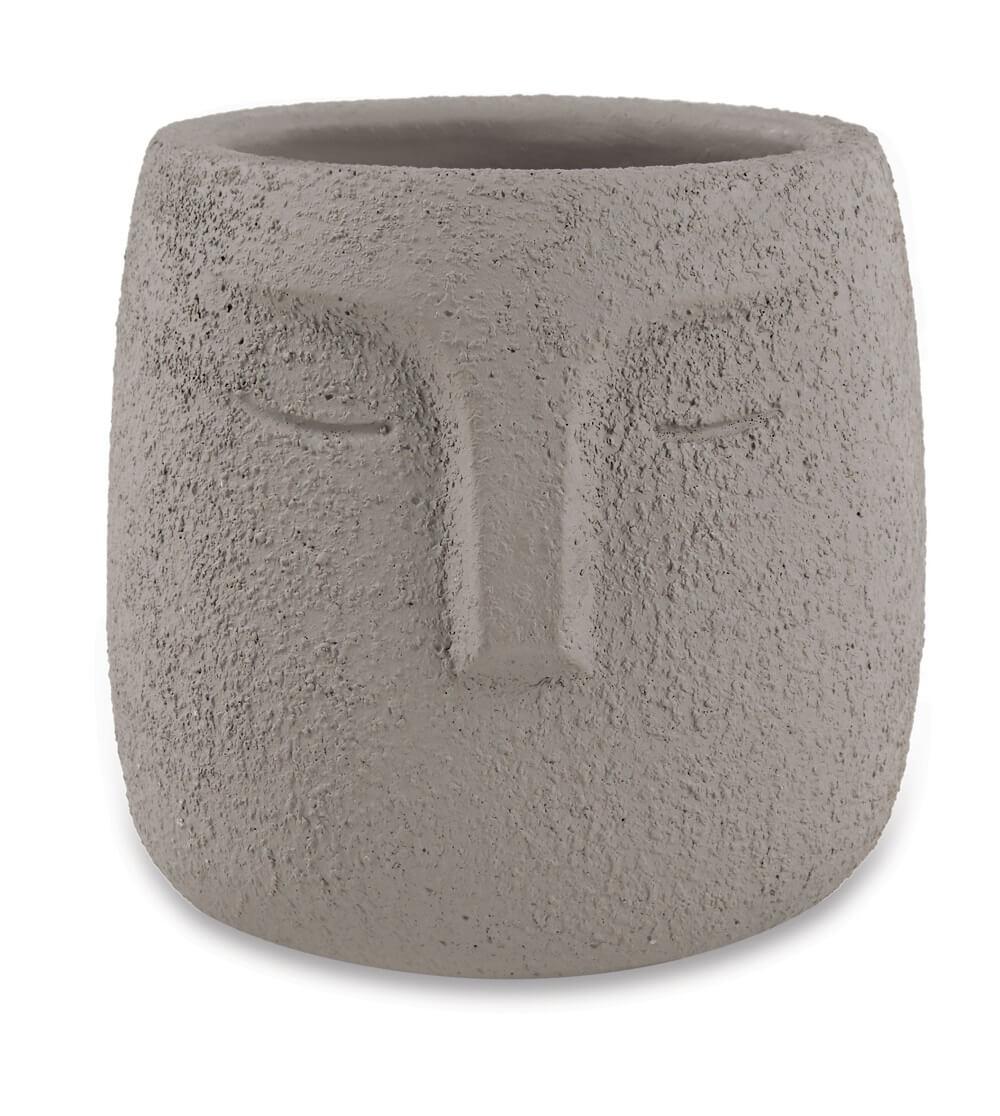 Cachepot Traços Em Cimento Dimensões 9cm x 10cm  Cor: Cinza