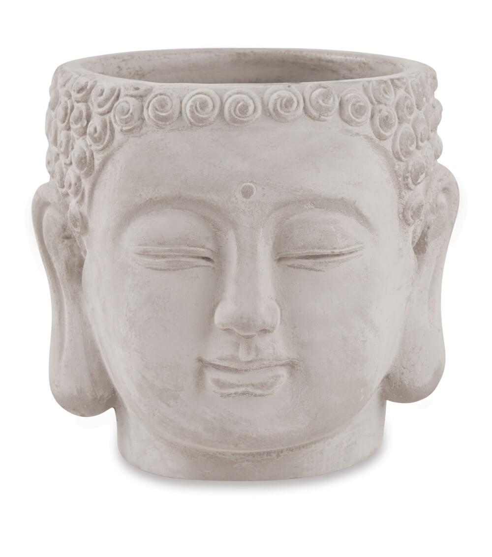 Cachepot Buddha em Cimento Dimensões 11cm x 10cm  Cor: Cinza