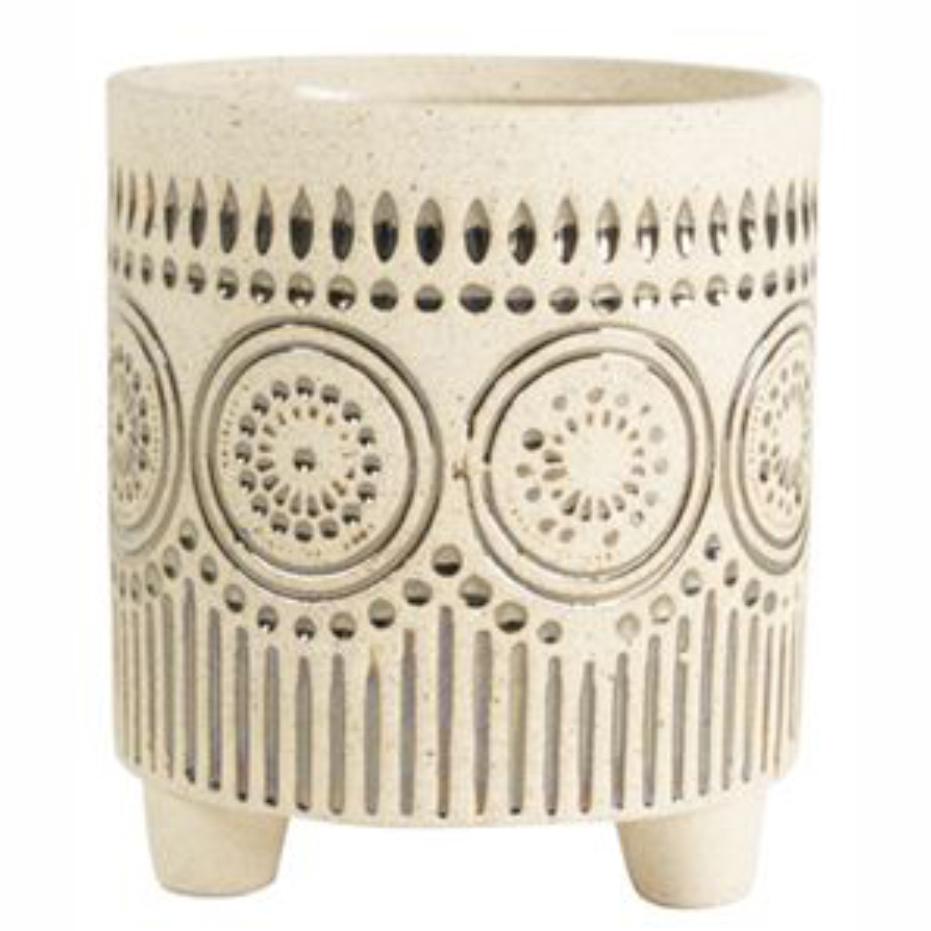 Cachepot de Cerâmica Artesanal Areia c/ Dourado Syb 9x10cm