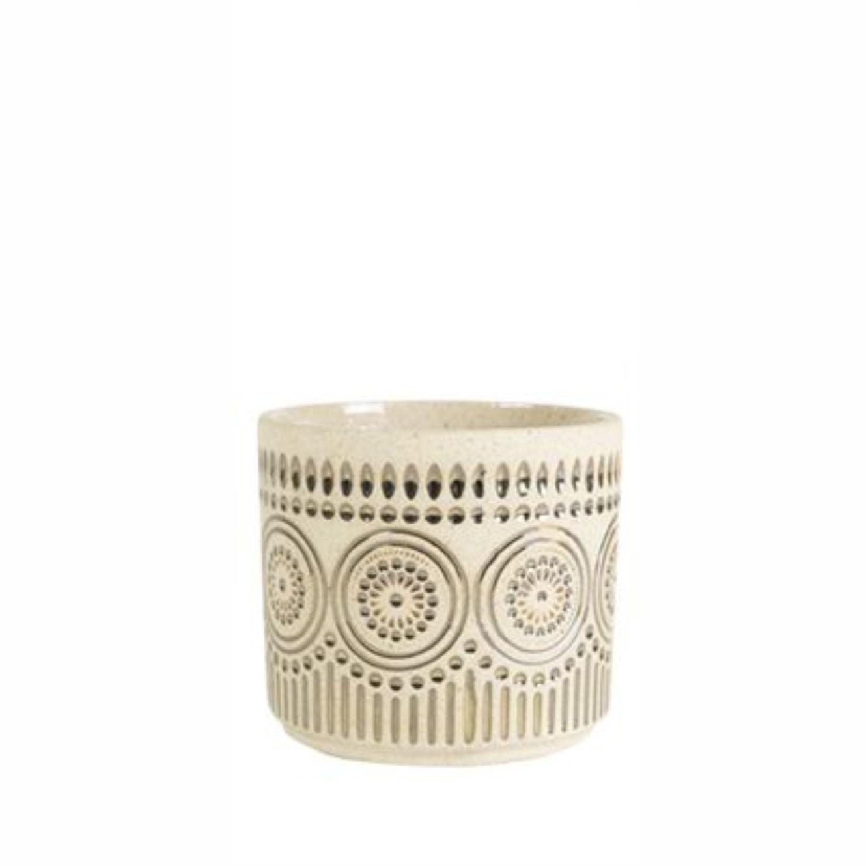 Cachepot de Cerâmica Artesanal Areia c/ Ouro Syb 08x07cm