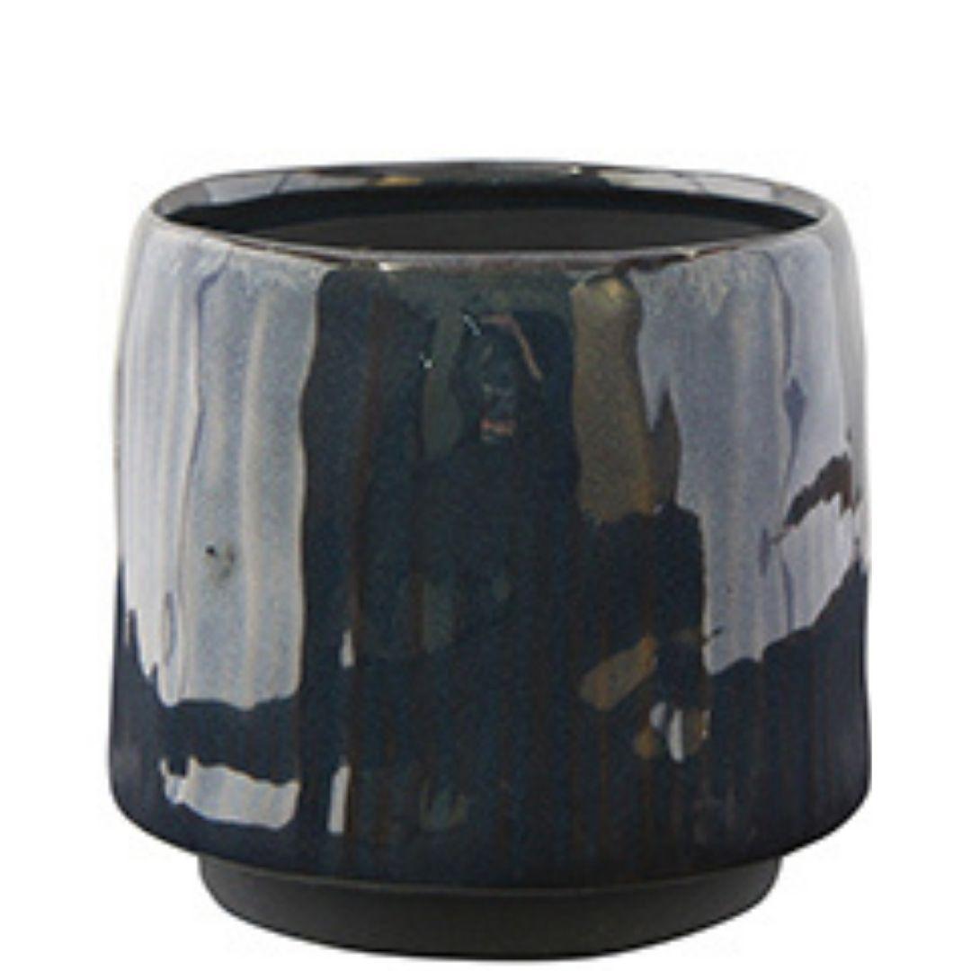 Cachepot de Cerâmica Artesanal Azul Senne 15x13cm
