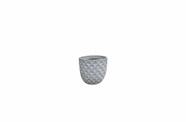 Cachepot de Cerâmica Artesanal Branco Felix 21x20cm