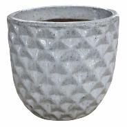 Vaso de Cerâmica Artesanal Branco Felix 26x26cm