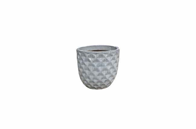 Cachepot de Cerâmica Artesanal Branco Felix 31x29cm
